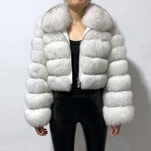 rf1982 Winter Woman's Fashion Short Style Slim Fit Zipper Real Fox Fur Jacket