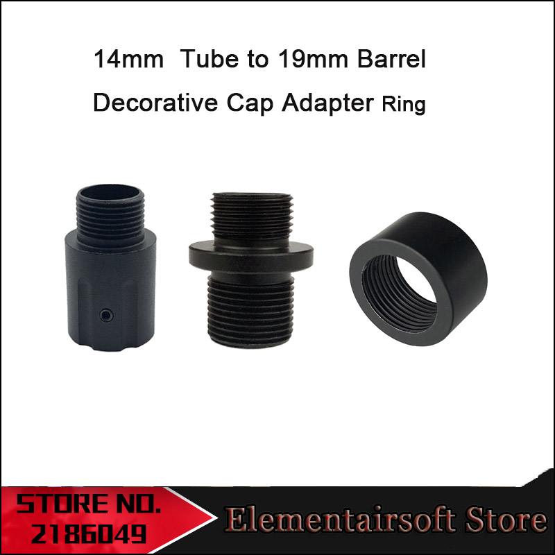 Tactical Water Gel Beads Parts 14mm Reverse Casing Tube To 19mm Barrel Decorative Cap Adapter Ring - Black