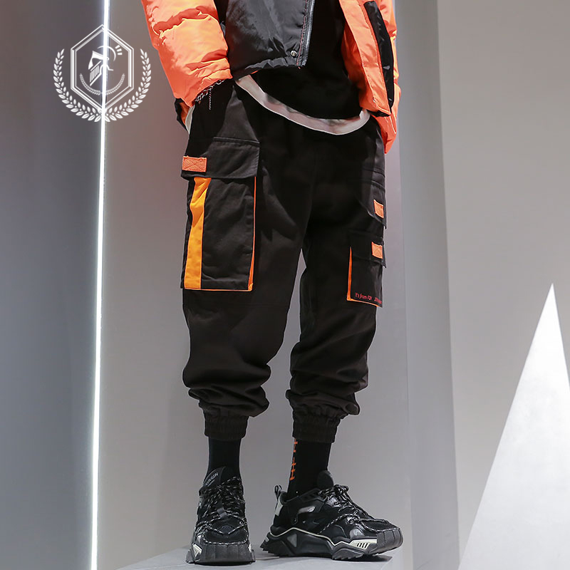Men Loose Cargo Safari Style Pants Fashion PocketsHarem Jogger Pants Patchwork Ankle-Length Hip Hop Pants