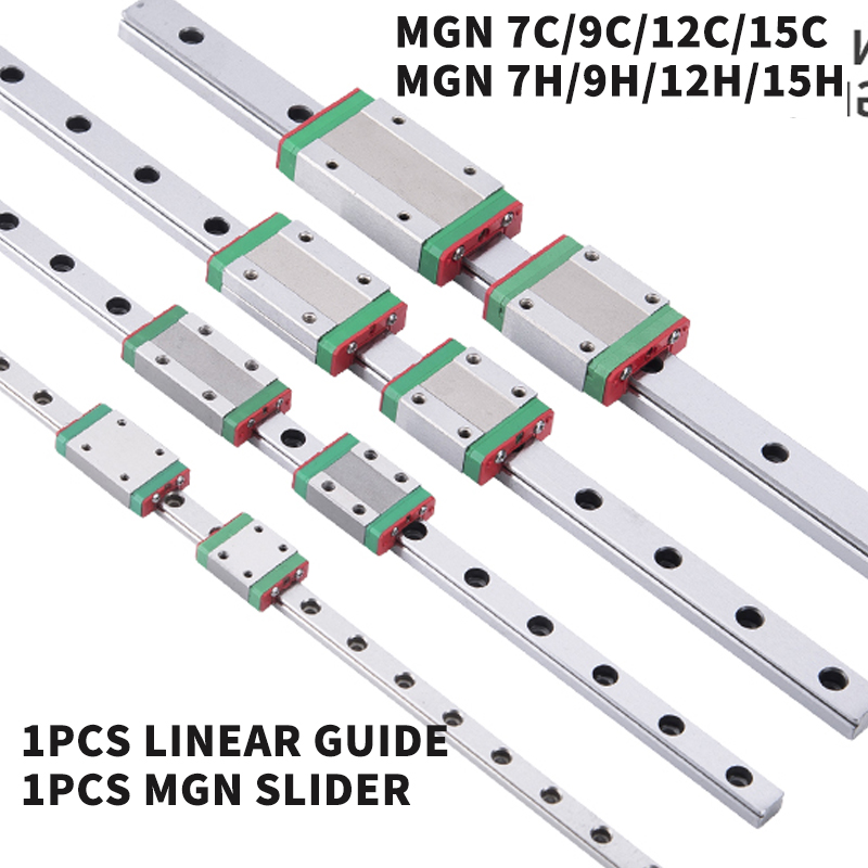 linear guide 3D Printer MGN7 MGN12 MGN15 MGN9 L 100 350 400 500 600 800mm miniature linear rail slide 1pcs MGN MGN12H  carriage|Linear Guides| |  - title=