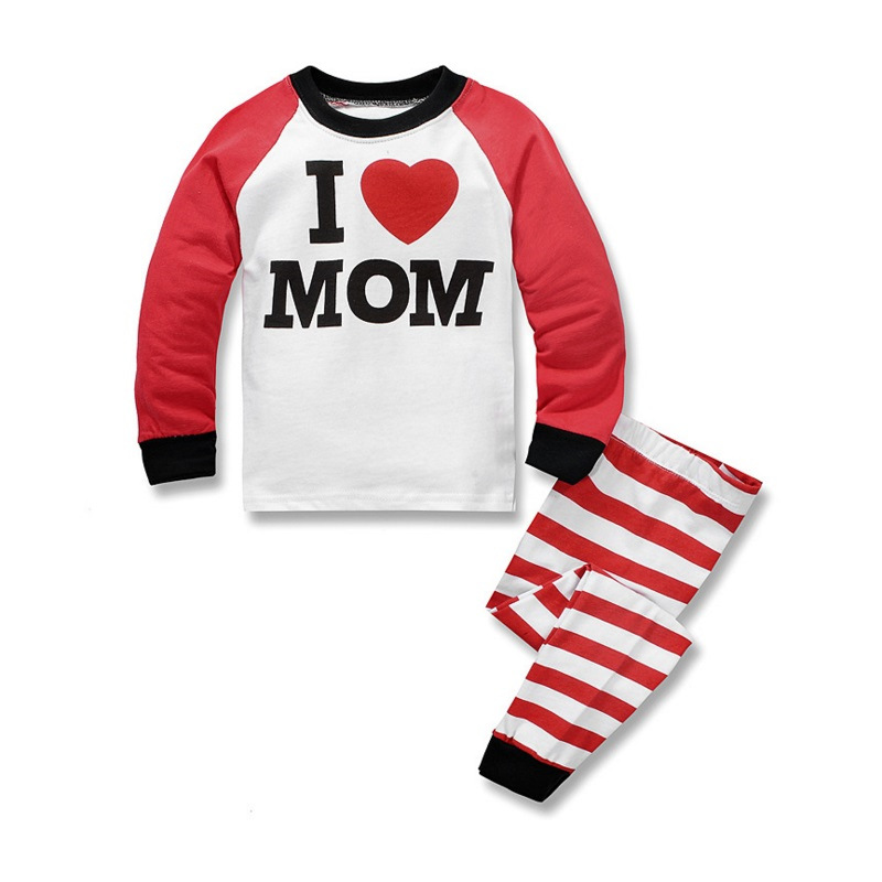 Hot Selling Childrenswear BOY'S Girls Baby Cartoon Long Sleeve I LOVE Mom Home Wear Fashion Pajamas Suit