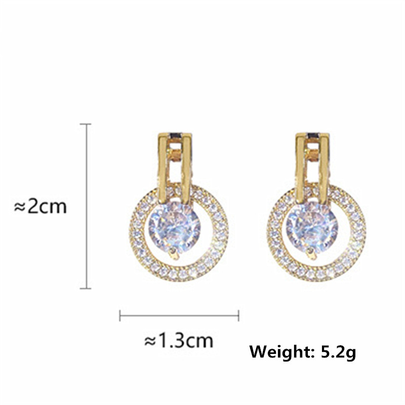 FYUAN Geometric Round Stud Earrings for Women Girl Bijoux Gold Silver Color Small Circle Crystal Earrings Statement Jewelry in Stud Earrings from Jewelry Accessories