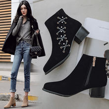Chelsea bottes courtes femme talons chunky nubuck cuir cheville martin botas cristal zipper 34-43 slim mode chaussons femme hiver(China)