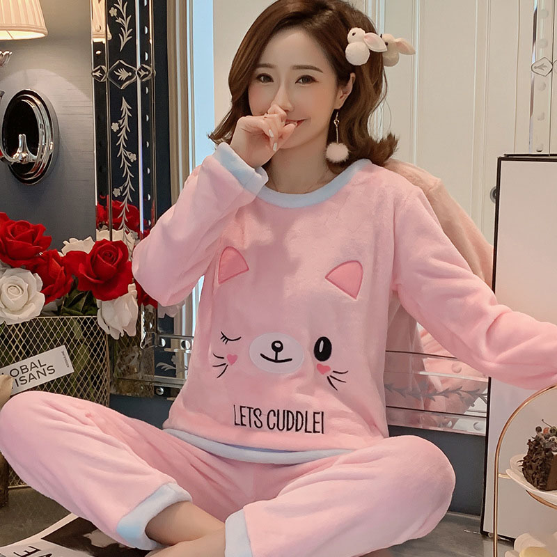 Betyline 2019 New Winter Pajamas For Women Sleepwear Warm Flannel Long Sleeves Pajamas  Cute Animal Homewear Thick Homewear