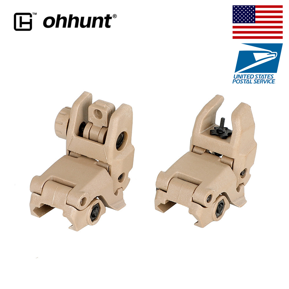 Ohhunt Model 4 AR 15 Tactical Flip up Front Rear Sight Set Polymer Sights Windage Adjustment For 1913 Picatinny Rail handguards(China)