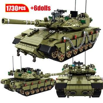 1730Pcs City Military MK4 Main Battle Tank Model Building Blocks WW2 Army Soldier Figures Education Bricks Toys For Children