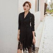 Yigelila Новое поступление черное платье с отложным воротником