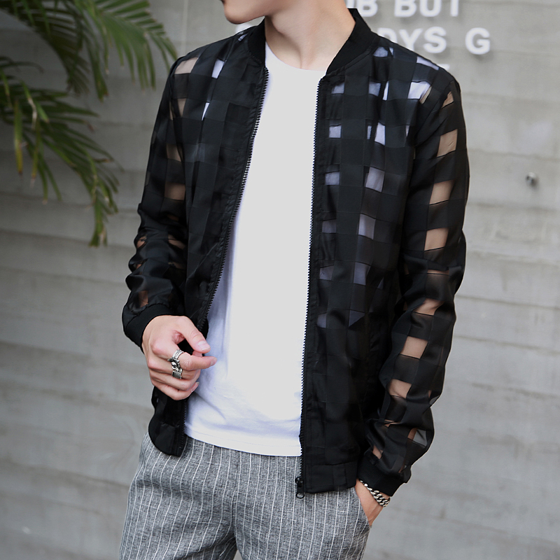 Pierced Transparent Bomber Jacket Men 2020 Sun Protection Clothing Windbreaker Summer Thin Men Plaid Jackets Slim Fit Mens Coats