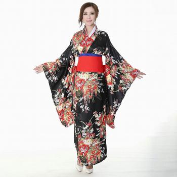 Oversize 3XL kobiety sukienka spotkanie przy herbacie sukienki w stylu lolity japońskie Kimono Yukata szata suknia z Obi Vintage gejsza Cosplay Vestidos tanie i dobre opinie WOMEN Poliester Pełna 052714 S M L XL XXL XXXL Black Japanese Style Cosplay Costumes Print Japanese Style Women Kimono Robe Gown