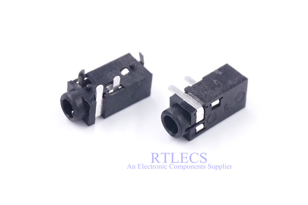 100 pcs Audio Jack Stereo 2.5 mm 4 Poles 4 pins Through Holes PCB Horizontal Board right Angle for TRRS Earphone Plug