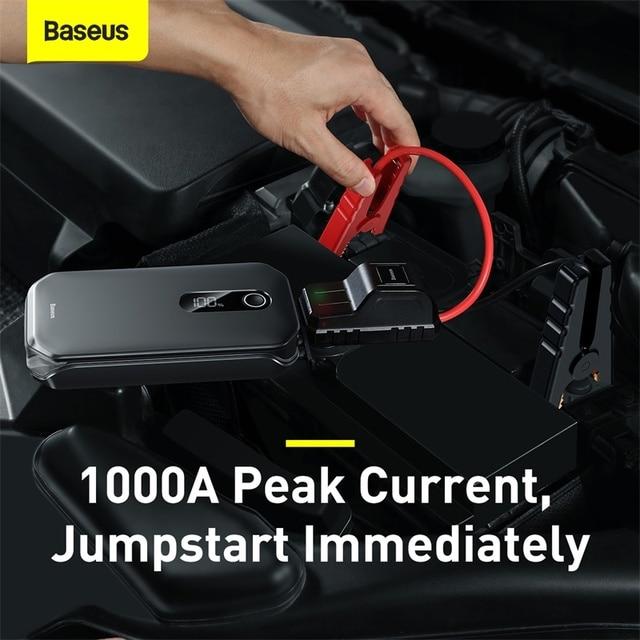 Base us 12000mAh Car Jump Starter Power Bank 12V Auto Starting Device 1000A Car Booster Battery Emergency Starter Battery for Car 2