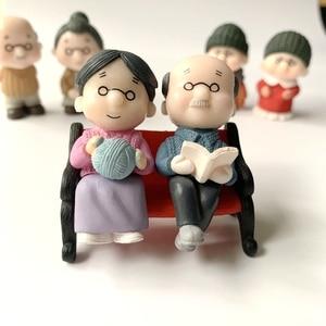 1Pair Grandpa and Grandma Lovers Gnome Miniature PVC Craft Birthday Gift Dollhouse Toy DIY Wedding Decor Fairy Garden Accessory
