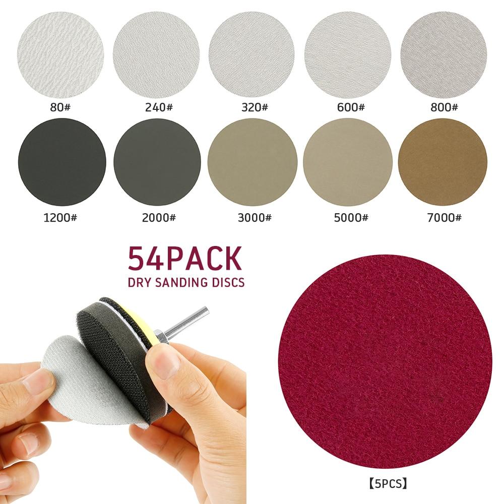 54pcs 3Inch Sanding Disc Set 1/4inch Shank+Foam Cushion+Dry&Wet Sanding Discs 80/240/320/600/800/1200/2000/3000/5000/7000 Grits