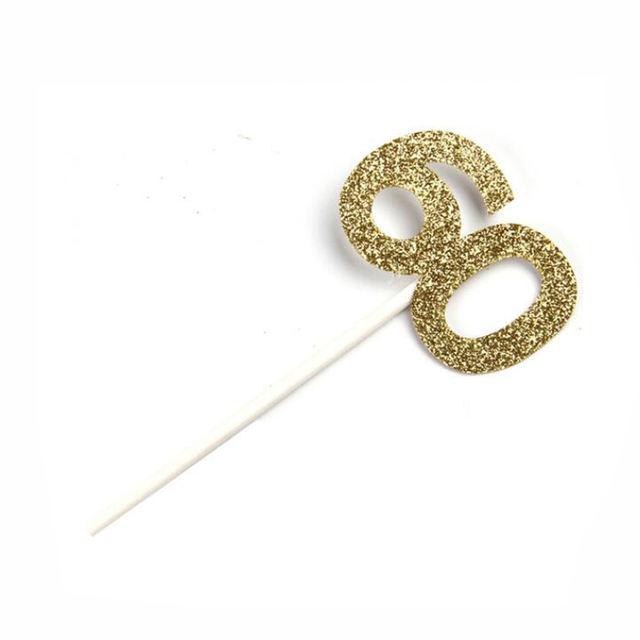 Gold Glittered Number Topper Set 12 Pcs