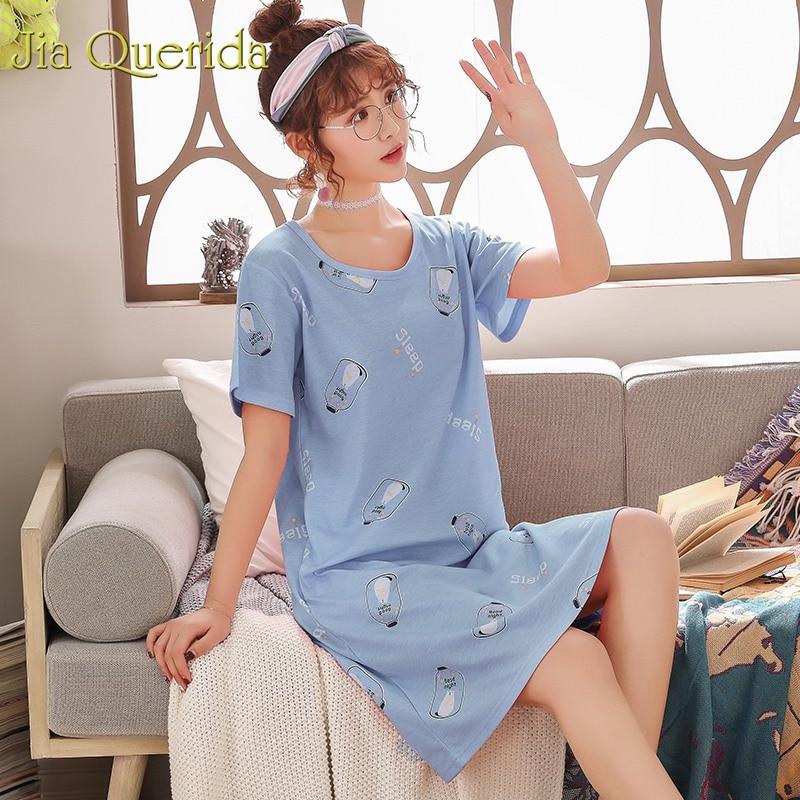 Cute Night Wear Women Cotton 2019 Summer New Nighty Plus Size Women Dress Lingerie Femme Sleep Wear Women Sleepwear Home Dress