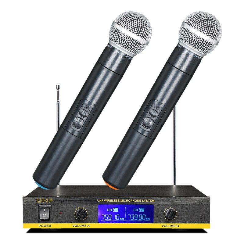 ABHU-2Pcs professionnel sans fil condensateur micro à main micro avec récepteur boîte micro sans fil micro Kareoke KTV chant