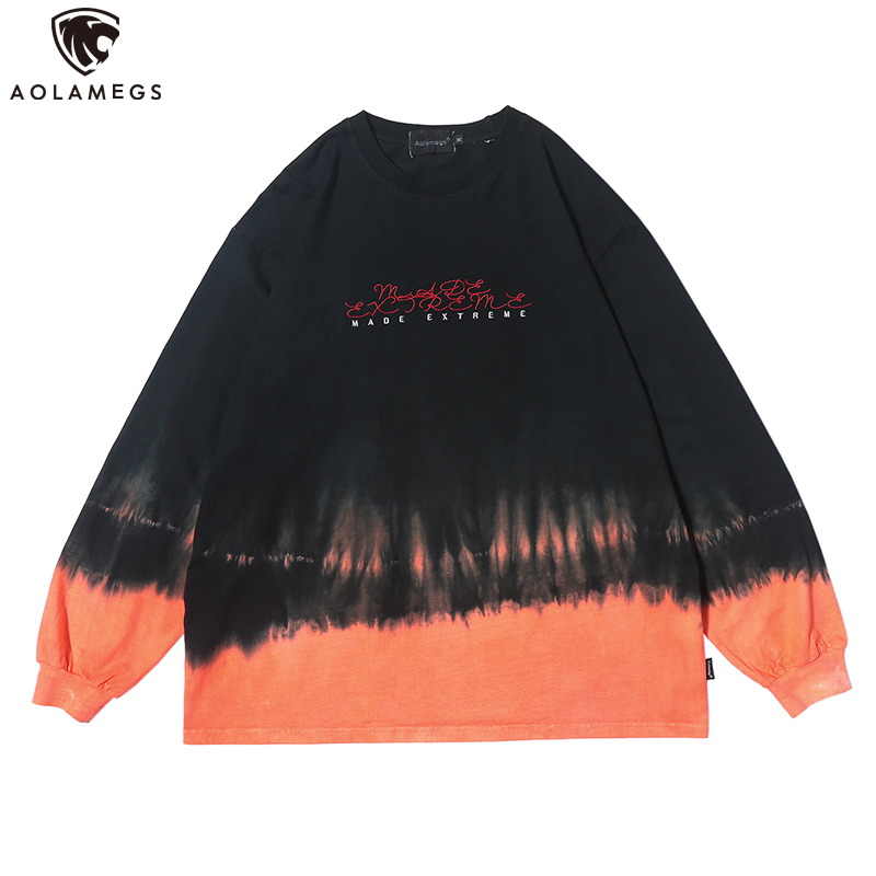 Aolamegs Sweatshirt Men Watercolor Tie Dye Men Pullover Harajuku Hit Color High Street Style Sweatshirt Couple Streetwear Autumn