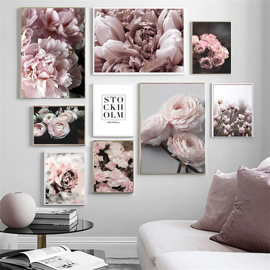 Flower Rose Peony Carnation Magnolia Quote Wall Art Canvas Painting Nordic Posters And Prints Wall Picture For Living Room Decor