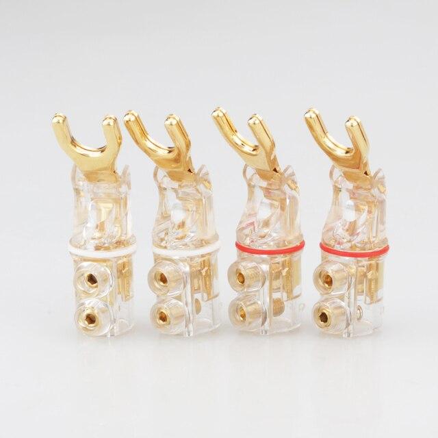 2 pcs Gold/Rhodium plated Y Spade banana connectoren gekartelde zaagtand Speaker Stekkers HiFi Audio Schroef Vork Connector adapter