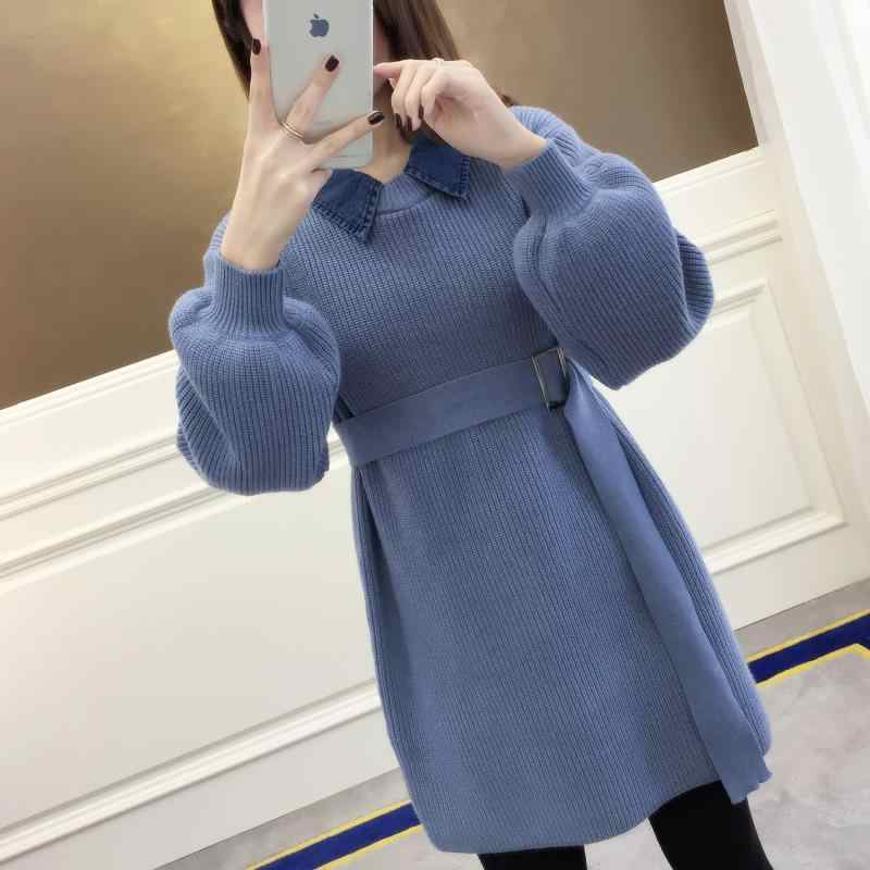 2019 autumn and winter fake two-piece long knit doll collar pullover sweater female lazy wind Korean jacket
