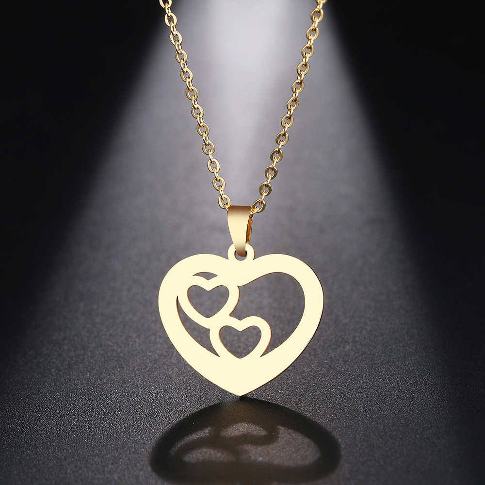 DOTIFI Stainless Steel Necklace For Women Man Gift Geometric Hearts Choker Pendant Necklace Engagement Jewelry