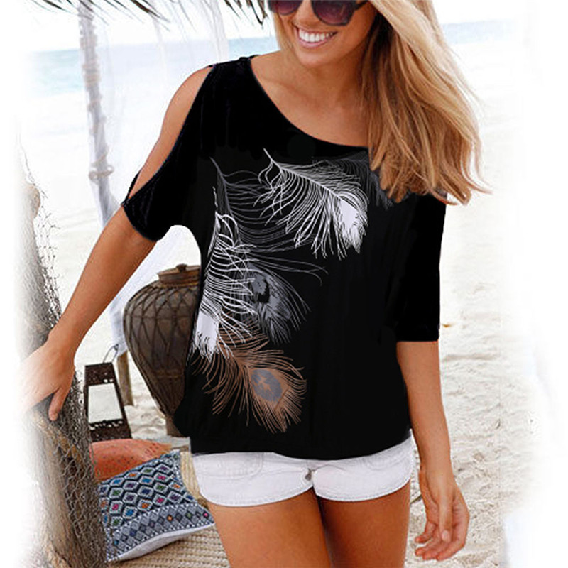 Women Summer 2019 Tshirt Casual Short Sleeve Tops Tees Sexy Off Shoulder Feather Print T-Shirt O-neck Loose Plus Size 5XL Shirts image