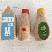 Детское деревянное моделирование, бутылка для молока, соуса, кухня, еда, приготовление пищи, ролевые игры, Детская развивающая игрушка, ролевые игры