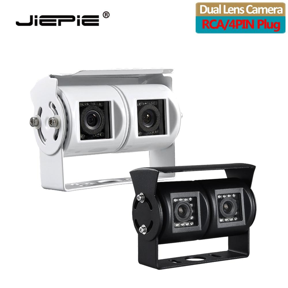 JIEPIE podwójny obiektyw kamera cofania RV kamera cofania Twin z regulowanym kątem obiektyw kamera cofania CCD do autobusu ciężarowego