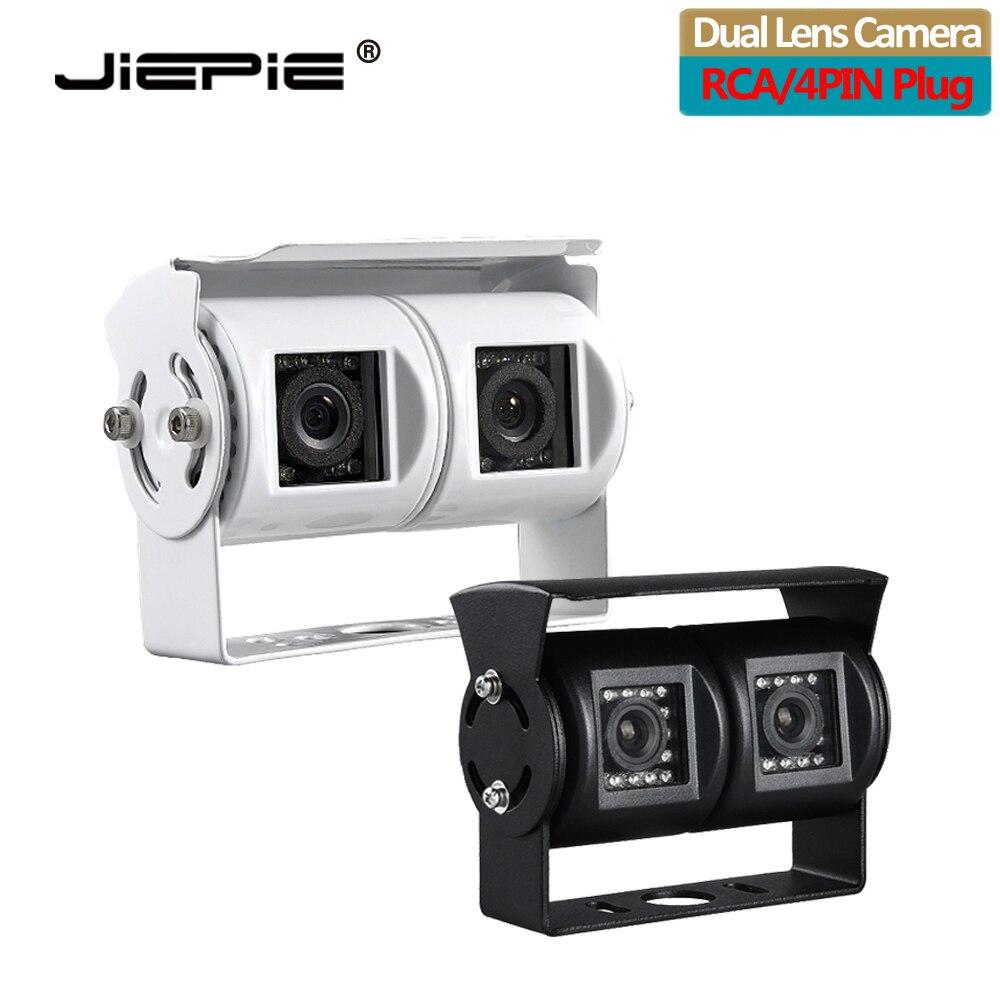 Jiepie lente dupla invertendo câmera rv câmera de backup duplo ângulo ajustável lente câmera visão traseira ccd para caminhão ônibus