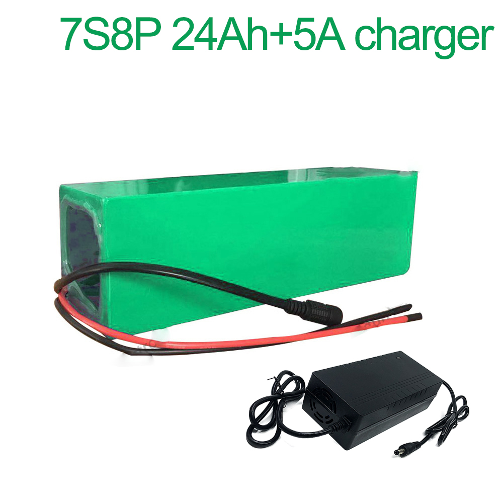 With <font><b>5A</b></font> <font><b>charger</b></font> <font><b>24V</b></font> 24Ah 25.9V 7S8P 18650 Li-ion Battery Pack E-Bike electric bicycle 215x90x70mm image
