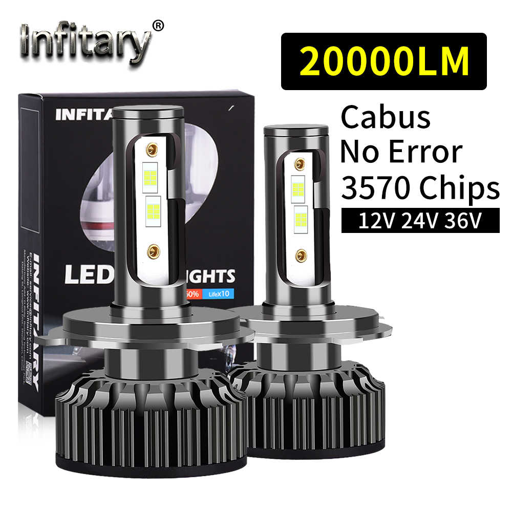 Infitary Canbus H4 H7 LED del Camion Dell'automobile Del Faro Lampadine 110W 20000Lm 12V 24V 36V 3570 di Chip h1 H3 H11 H13 H27 HB3 HB4 6500K Lampada Auto