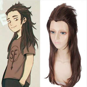 Image 1 - Game Sally face Sallyface Larry Cosplay Wig 65cm Long Brown Styled Heat Resistant Synthetic Hair Wig + Wig Cap