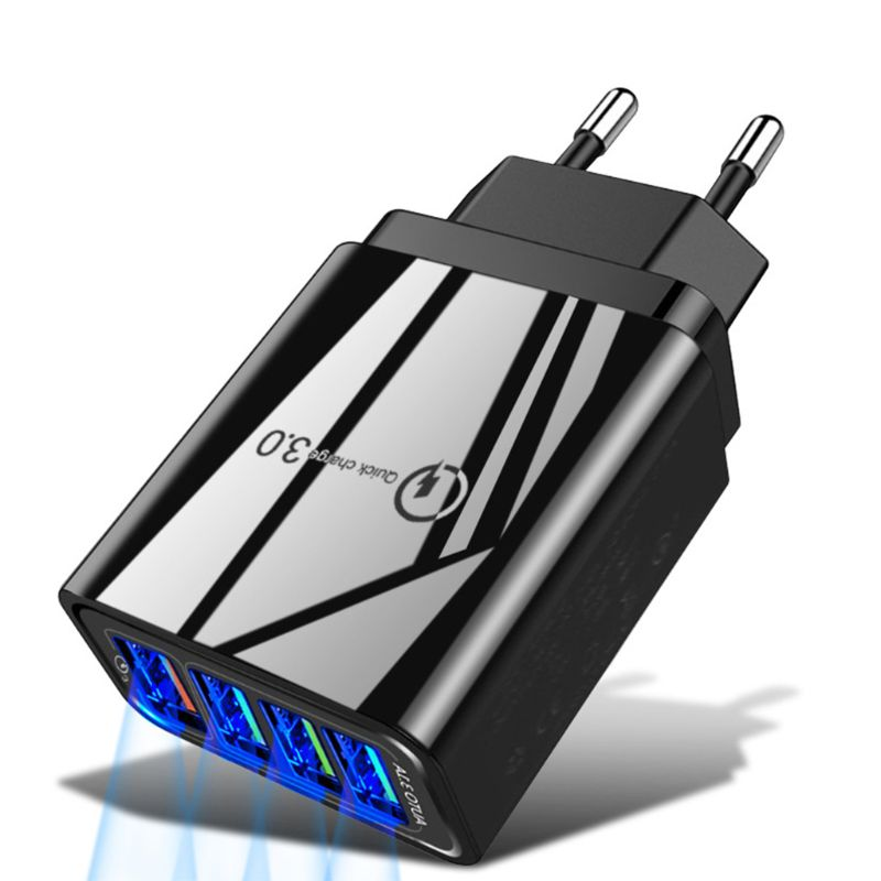 4 Port Fast Quick Charge Head QC3.0 Wall Charger Power Adapter Mobile Charger