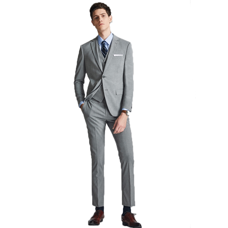 2020 Newest Fashion Gray Single Row Two Button Three Pieces Mans Suits For Groom Best Man Business And Dinner(Jacket+Pants+Vest)
