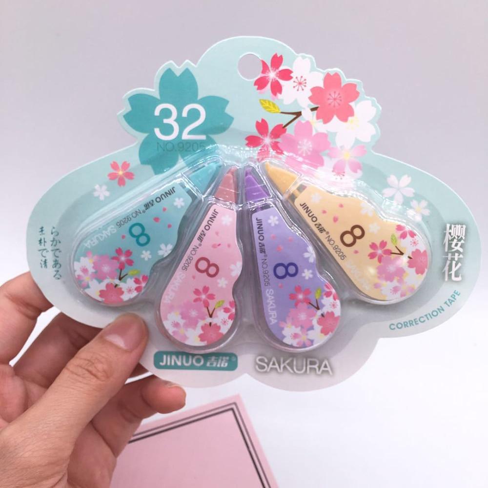 4Pcs/Set 5mm*3m Kawaii Cherry Correction Tape Cute Cartoon Tapes School Writing Corrector Tool Office Supplies Stationery