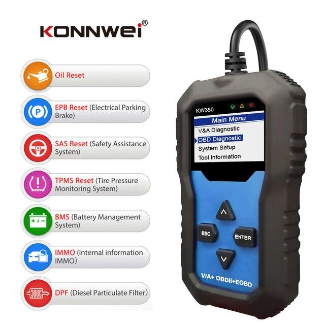 KONNWEI KW350 VAG arabalar için OBD2 aracı tam sistem teşhis aracı ABS hava yastığı sıfırlama yağ servis işık EPB sıfırlama fonksiyonu