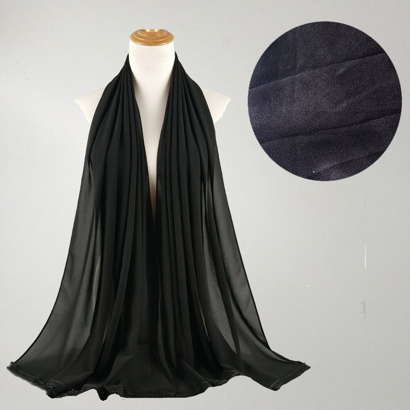 Women Scarf Islam Muslim Black Scrves Women Viscose Maxi Crinkle Cloud Hijab Scarf Luxe Ladies Solid Shawl Stole 150*37CM