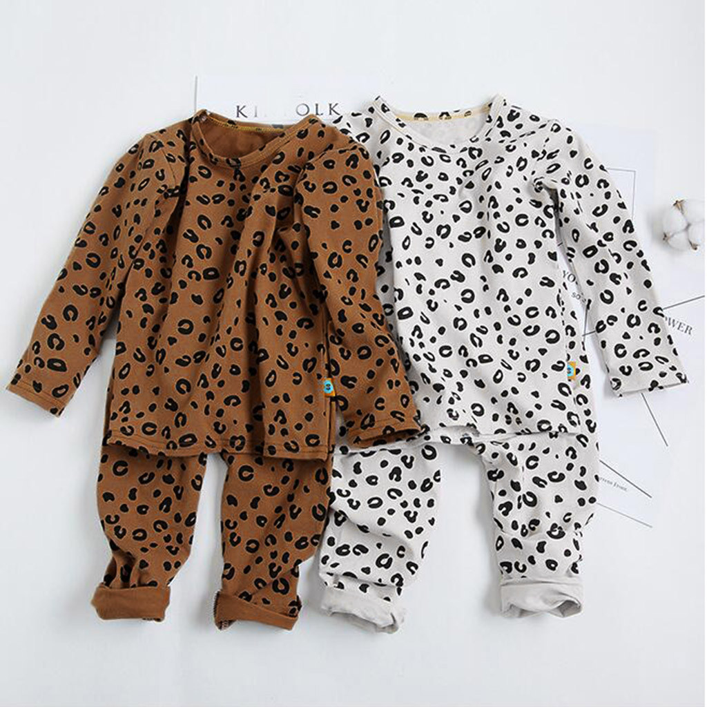 Sleepwear Kids Outfits Pajamas Leopard-Pants Toddler Baby-Girls Cotton Children Full title=