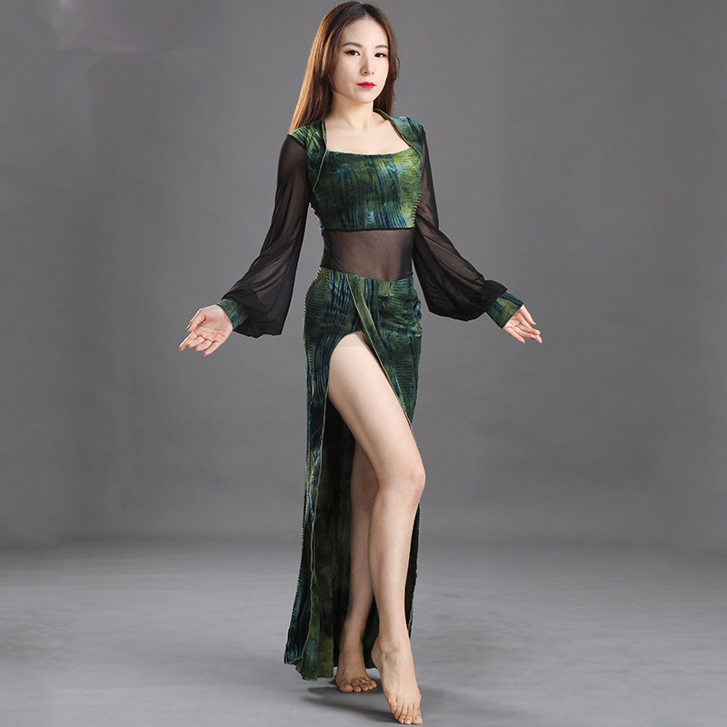 Belly Dance Training Clothes New Velvet Splicing Mesh Suit Long Sleeve Warm Dance Clothes Performance Clothes For Women