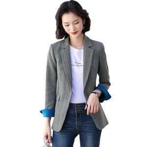 Женский блейзер в клетку, абрикосового и серого цвета, деловой пиджак, топы, 2021