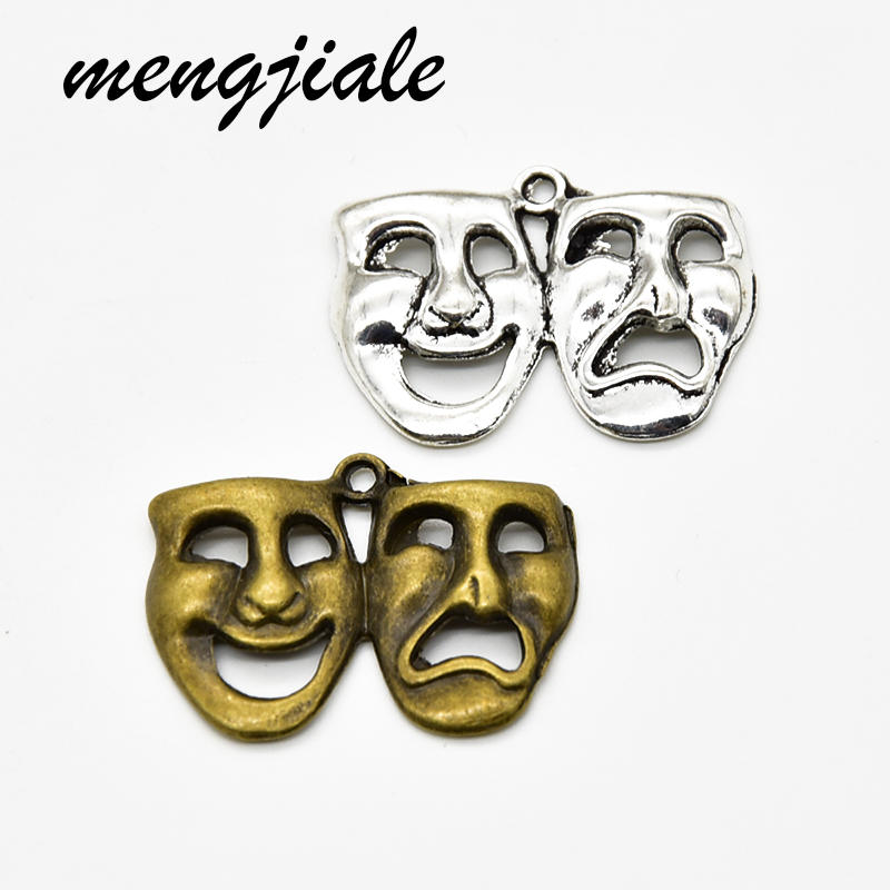 Mask Charms Jewelry-Making Metal Vintage for Handmade-Craft 9pcs/Lot Theater