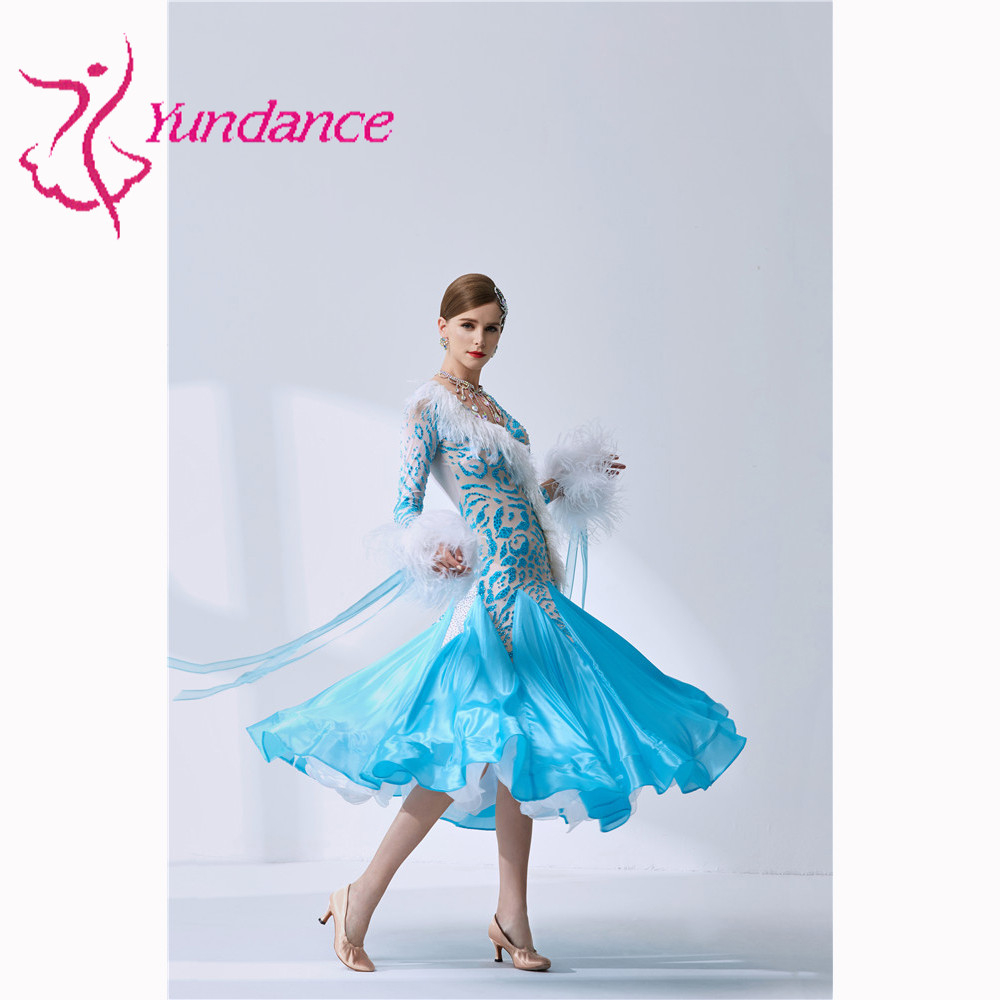 B-1999 Blue Ballroom Dance Dresses, Vestiti Da Ballo Standard Donna Waltz Dress For Adult