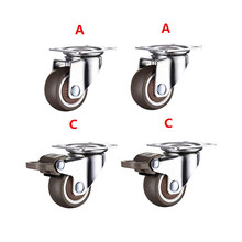 4pcs 1.5 inch TPE 8*20mm ultra quiet rubber wheel brake cabinet furniture casters brake wheel with screw