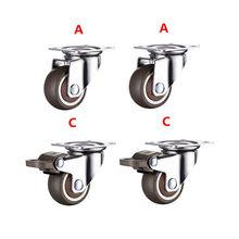 4 pièces 1.5 pouces TPE 8*20mm ultra silencieux roue en caoutchouc frein armoire meubles roulettes roue de frein avec vis