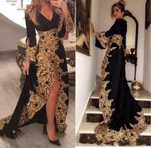 Женское вечернее платье кафтан черное велюровое с длинными рукавами