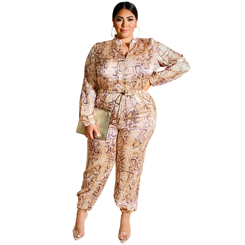 4XL 5XL Plus Size Women Casual Jumpsuit Sexy 2019 Vintage Leopard Print Wide Leg Rompers Fashion Elegant Summer Long Jumpsuits