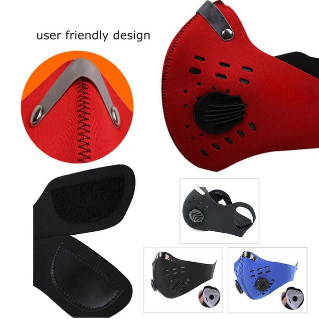 Anti-PM2.5 Mask With Valve Anti-fog and Activated Carbon Dustproof Windproof Bicycle Mask Mountain Bike Air Valve Riding Mask 5
