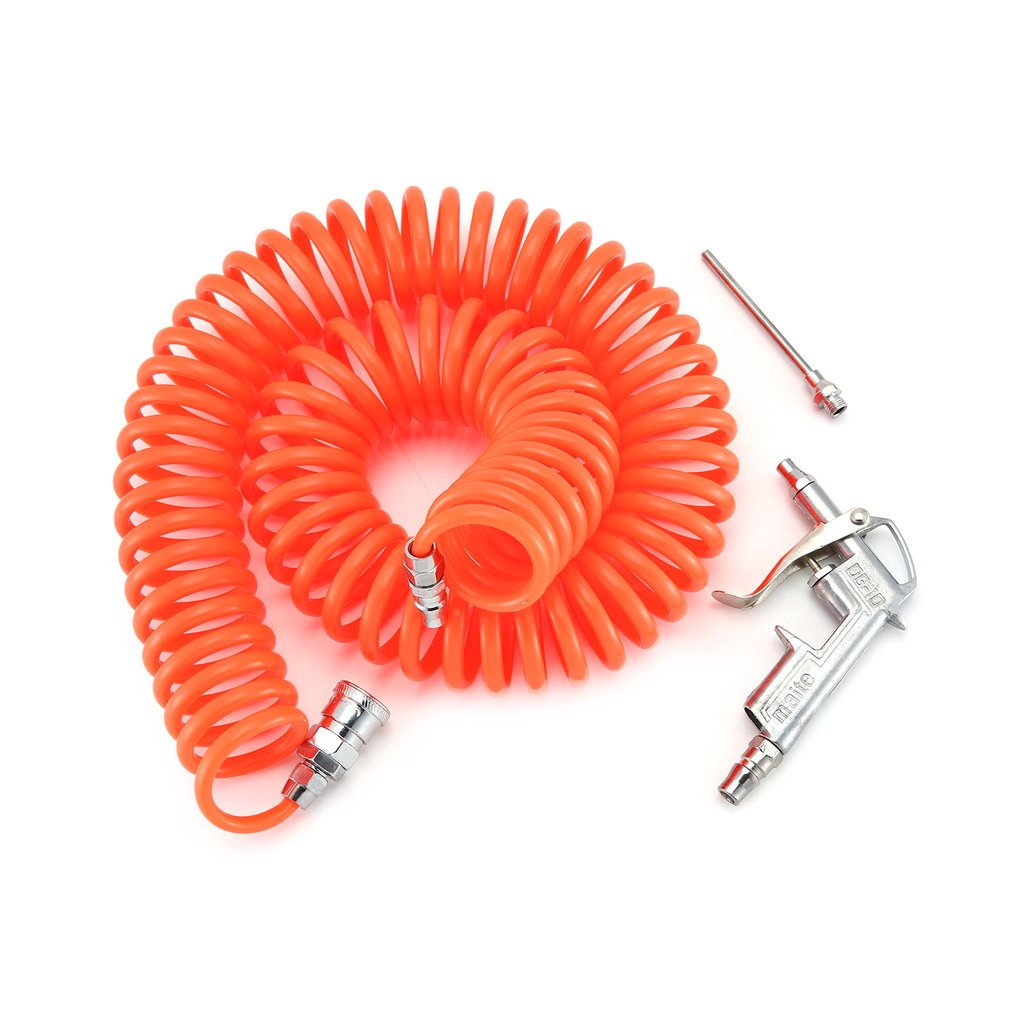 Aluminum Nozzle Air Duster Blow Gun Pneumatic Dust Removing With Coiled Hose Tool Accessories For Truck Van Lorry Blower