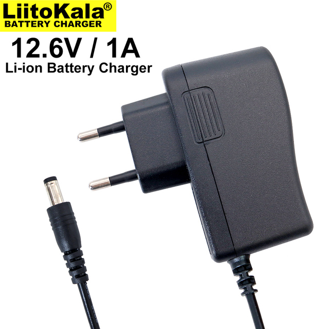 1 10 pces liitokala 12,6 v 1a carregador de bateria de lítio 3s 12v bateria 100 240v carregador dc cabeça é 5,5*2,1mm