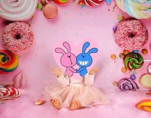 Image 5 - Laeacco Детские задние фоны для фотографий в день рождения розового цвета конфеты десерт пончик леденец фото задние фоны новорожденный фотосессия Фотостудия